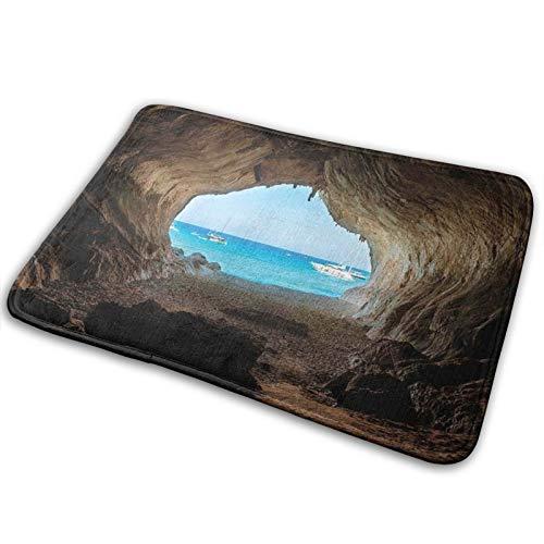 CVSANALA Non-Slip Soft Bath Mat,Hidden Hole Spot In The Rocks By The Ocean Exotic Sunset Reflection Sky Scene,Micro Personalized Home Decor Bathroom Floor Rug,29.5' x 17.5'