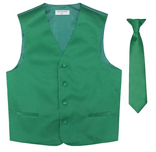 BOY'S Dress Vest & NeckTie Solid EMERALD GREEN Color Neck Tie Set size 14