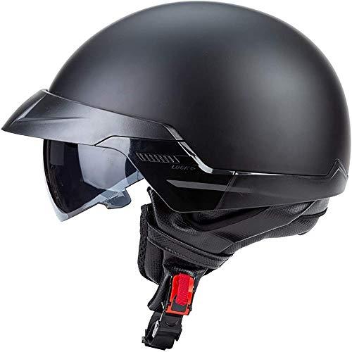 ZHXH Harley Motorradhelm, Erwachsene Männer und Frauen Jahreszeiten Retro Riding Half Helm mit Dot-Zertifizierung