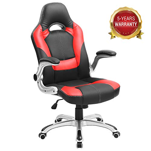 Computer Gaming Ergonomic Swivel Chair, High-back Leather Adjustable Executive Office Chair with Flip-up Arms 350lb (Red) chair gaming red