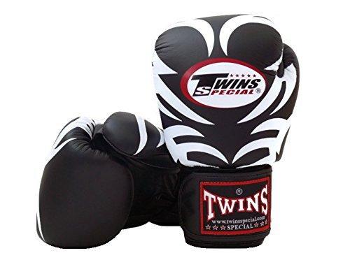 Twins Special Muay Thai Fancy Negro y rosa de piel de guantes...