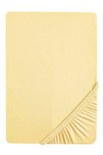 biberna 0077144 Feinjersey Spannbetttuch (Matratzenhöhe max. 22 cm) (Baumwolle) 90x190 cm -> 100x200 cm, yellow