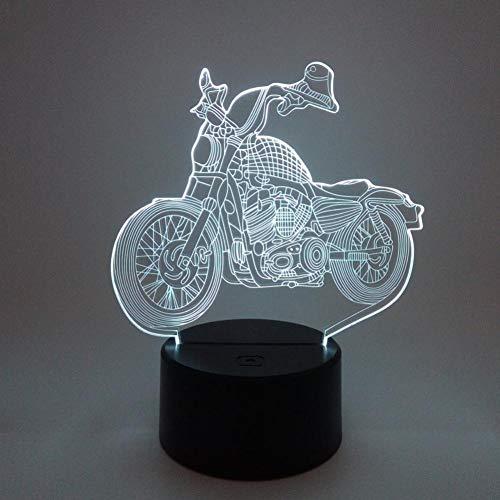 Yujzpl 3D-illusielamp Led-nachtlampje, USB-aangedreven 7 kleuren Knipperende aanraakschakelaar Slaapkamer Decoratie Verlichting voor kinderen Kerstcadeau-Motorfiets diesel