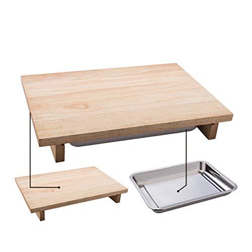 LIYANG Tabla De Cortar Tabla de Cortar de bambú Tabla de Cortar y Bandeja de Almacenamiento de Acero Inoxidable Preparación de Verduras/Pan/Carne/Ensalada para Carne Pan Frutas