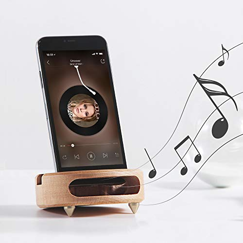 Phone Stand Sound Amplifier, Wood Phone Stand for Desk, Desktop Phone Stand, Phone Speaker Amplifer Holder, Handmade Wooden Phone Dock Compatible with Smartphone, Kindle, Mini Pad - Beech Wood