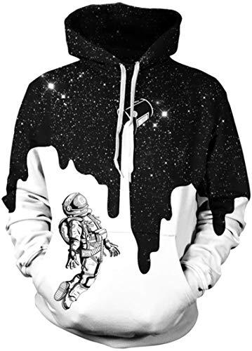 EUDOLAH Herren Pullover mit Kapuze und Bauchtasche Pulli mit Aufdruck Herbst Winter (L-XL, 1-Milch Astronaut)