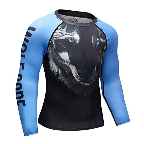 Wolf Code Fightwear Compression Training Long Sleeve Rash Guard for BJJ, MMA, Wrestling, Nogi Grappling (Extra Large) Black/Blue