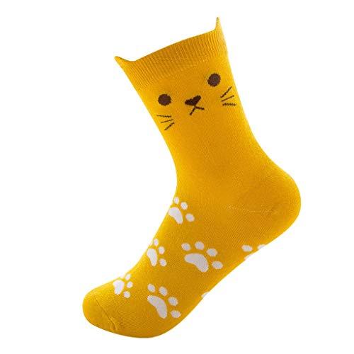 Goddesslili Funny Socks, Cute Cartoon Cat Paw Print Novelty Crazy Funny Socks for Women Ladies Girls Student, Multi Colors Wonderful Gift Choice, 10 Pairs