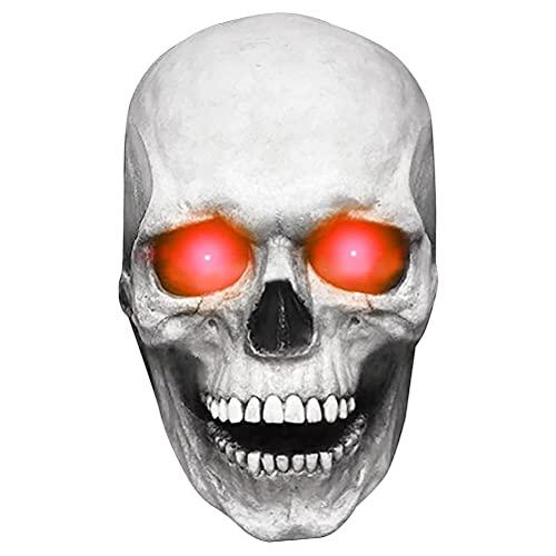 Máscara de Halloween, Máscara de calavera de cabeza completa con mandíbula en movimiento, Máscara de calavera humana de Halloween espeluznante, cosplay de fiesta de Halloween, Decoración de Halloween