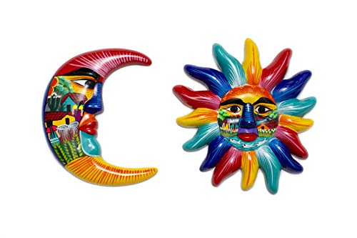 Blue Hand Painted Authentic Mexican Sun and Moon Wall Decor, Patio Wall Decorations, Summer Wall Ceramic Decor, Moon Decor, Mexican Art for Home and Garden Talavera, Outdoor Wall Art 12 inches