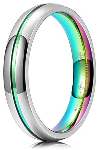 THREE KEYS JEWELRY 4mm Women Engagement Silver Marrige Class LGBT Colorful Titanium Polished Cool Promise Glow Fashion Wedding Band Thumb Rings for Women Size 11.5