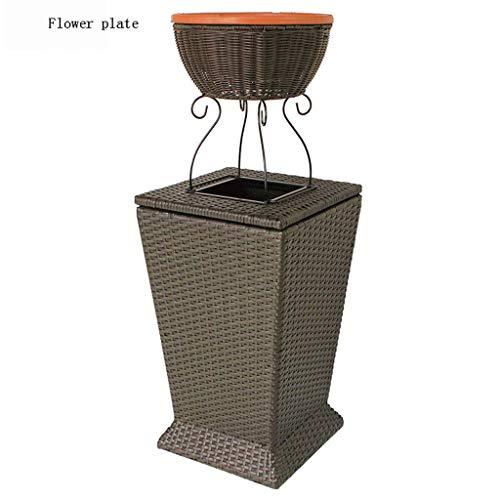 Festnight Poubelle de Jardin avec 3 Sacs Poubelle Exterieur Poubelles de Jardin en Plastique Gris Clair 65x38x102 cm