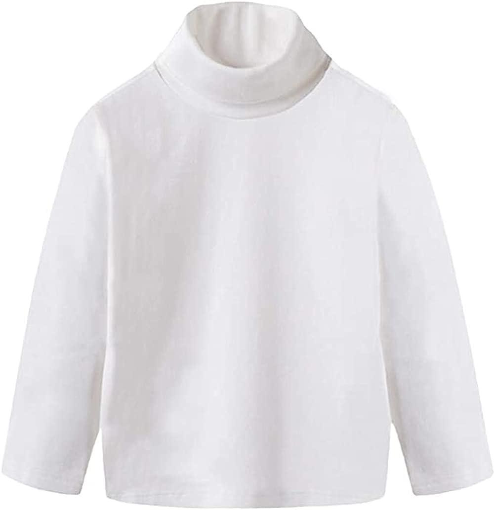 HAXICO Unisex Girls Boys Long Sleeve Crewneck T-Shirt Tee Toddler Turtleneck Cotton Basic Warm Tops Shirts 2-8 Years