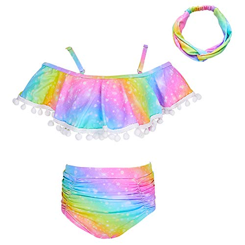 MHJY Girl Swimsuit 2-Piece Swimwear Bikini Tankini Set Beachwear Bathing Suits with Headband,7-8 Years,Colorful Rainbow