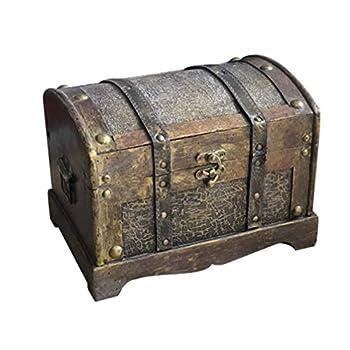 Amosfun Retro Wooden Box Pirate Treasure Chest Gem Vintage Jewelry Storage Box Keepsake Case Party Game Decoration  Size M