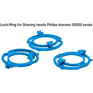 3pc Lock-Ring (Retaining-Plate, Holder) Compatible for Philips Shaving Heads Model/Type SH50 (Colour Blue). Shaver Series S5000:Maskedking