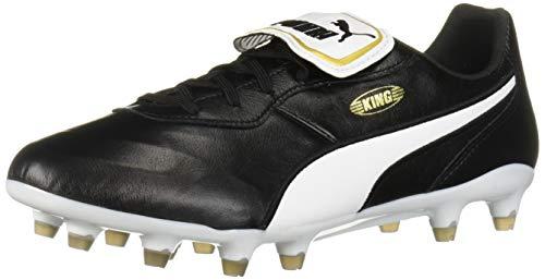 PUMA Men's King Top Firm Ground Sneaker, Black White, 11.5 M US