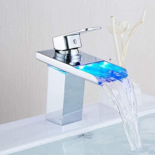 Lavabo LED Fregadero Grifo Cascada Grifos de lavabo Cambio de colores con temperatura Mezclador de lavabo de baño Grifo mezclador de latón frío y caliente