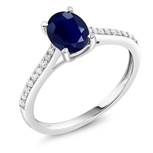 Gem Stone King 10K White Gold Blue Sapphire and Pave Diamond Engagement Solitaire Ring 8X6MM Oval Gemstone Birthstone 1.89 cttw (Size 6)