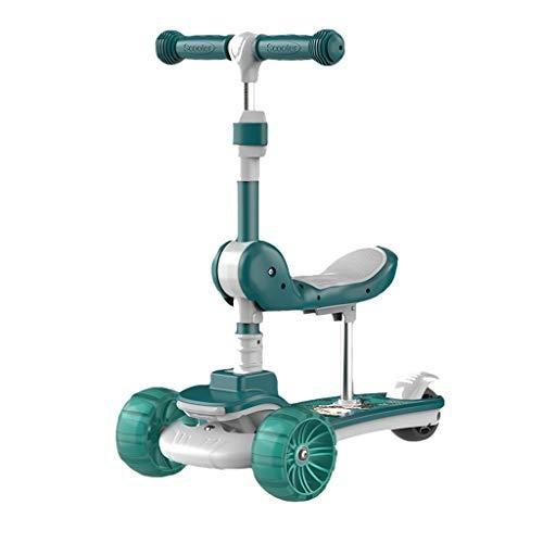 Patinete Kick Scooter con Asiento Plegable Y Extraíble Magro para Dirigir la Altura Ajustable para Niños de 1 A 12 Ruedas de PU Parpadeante (Color : Green)