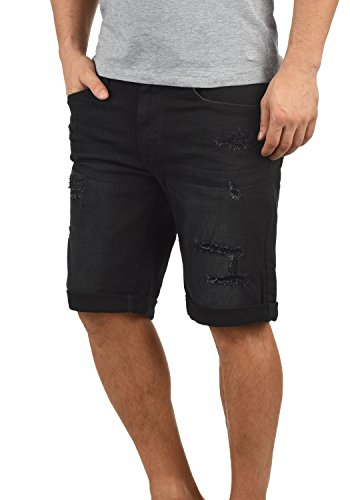 Blend Deniz Herren Jeans Shorts Kurze Denim Hose Mit Destroyed-Optik Aus Stretch-Material Regular Fit, Größe:L, Farbe:Denim Black (76204)