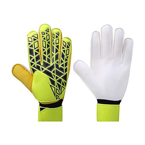ABOOFAN Guantes Transpirables Antideslizantes de látex Protectores de Dedos Guantes de Portero de fútbol Profesional (Amarillo 10 Yardas)