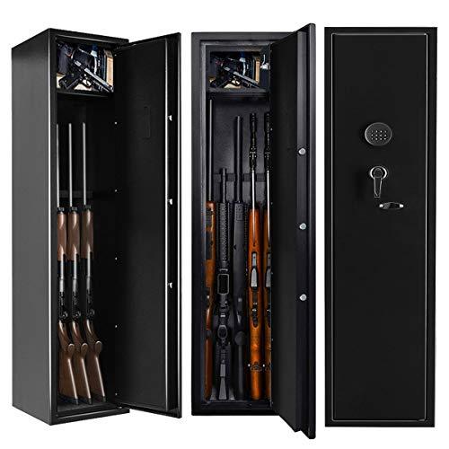 INVIE Large Rifle Safe, Long Gun Safe Rifle Shotgun Locker for Home, Quick Access 5-Gun Electronic Storage Cabinet with Handgun Pistol Lockbox Slient Mode (Keyboard PIN Code)