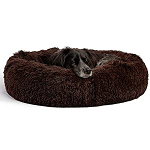 Best Friends by Sheri The Original Calming Donut Cat and Dog Bed in Shag Fur, Machine Washable, Removable Zippered Shell, for Pets up to 45 lbs – Medium 30″x30″ in Dark Chocolate