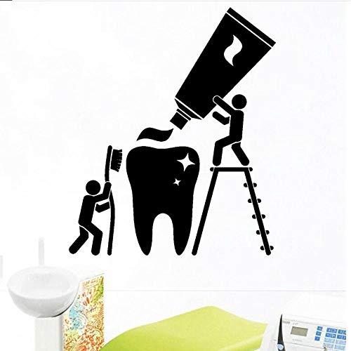 Wandaufkleber Wandtattoo Wandsticker Zahn Zahnbürste Zahnpasta Cartoons Jungen Bürsten Zahnpflege Gesundheit Reinigung Badezimmer Vinyl Dekor 50 × 42 cm