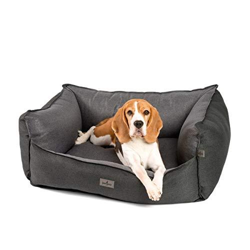 JAMAXX Premium Hundebett - Orthopädisch Memory Visco Füllung, Extra-Hohe Ränder, Waschbar, Nässe-Schutz, Hochwertiger Stoff mit viel Eleganz, Hundesofa PDB2018 (M) 90x70 anthrazit