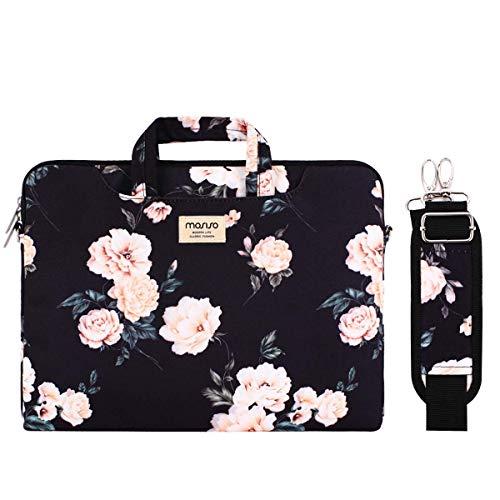 MOSISO Laptop Tasche Hülle Kompatibel mit 13-13,3 Zoll MacBook Pro, MacBook Air, Notebook,Kamelie Tragetasche Schutzhülle mit Trolley Gürtel,Schwarz