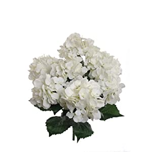 Hydrangea Silk Flowers Plant, White, Indoor Home Decoration, Outdoor Plant, Wedding, Centerpieces, Bouquets, 2-Pack, Artificial Hydrangeas Bush with 7 Large Gorgeous Bloom Clusters, Leaves, Stems