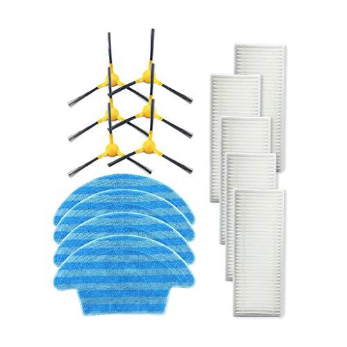 FBGood Staubsauger Ersatzteile, Reinigungs Swerkzeugsätze Kompatibel mit Haier TAB-T550WSC / TAB-T560H / JD5F0LSC Kehrmaschinen Zubehör (6 Seitenbürsten + 5 Filter + 4 Mopp)