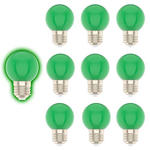 E27 G45 1W Farbige Glühbirne, Grün, Geeignet für Weihnachtsdekoration, Gartendekoration, etc-10er Pack
