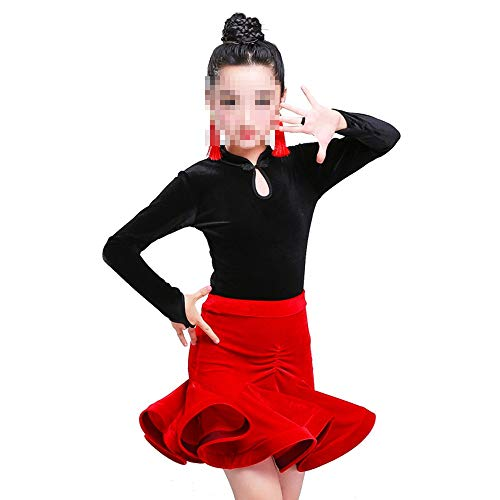 Mädchen tanzen Kleid Rock Latin Kostüm Fringe-Rock-Tanz-Performance-Wettbewerb National Dance Kostüm elegant perfekte Figur Tango Rumba Latin Tango Ballsaal ( Farbe : Rot , Size : 140cm )