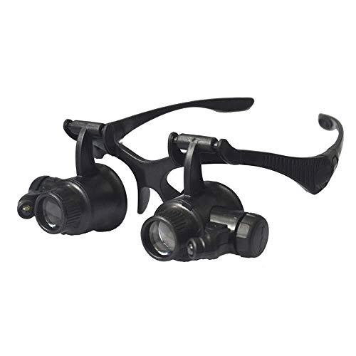 Reloj De Lupa Con Reparación De Gafas Montados En La Cabeza Con Lámpara Led Identificación De Sello Binocular Hd Con 4 Juegos De Lentes