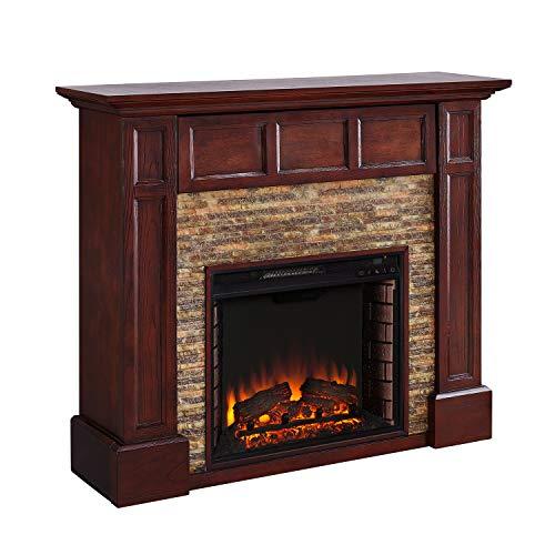 SEI Furniture Broyleston Fireplace, Whiskey Maple, River Stone