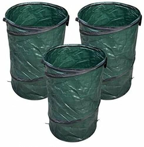 GreenYard 3er Set Pop Up Sack 120L, faltbar mit Schlaufe verschließbar, Gartensack, Laubsack Abfallsack für Gartenabfälle