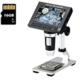 Jiusion DM3 4.3inch Screen Full Color HD LCD Digital USB Microscope with 16G Micro SD Card, 50X - 1000X Magnification Zoom Camera 1920 x 1080P Video Recording/Saving, PCB Coins Magnify for Windows Mac
