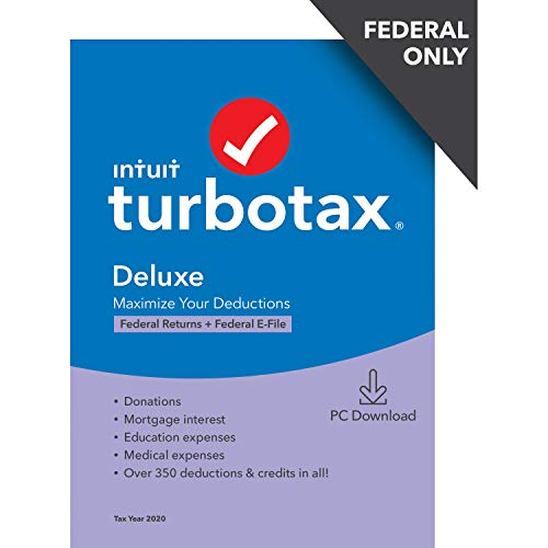 TurboTax Deluxe 2020 Desktop Tax Software, Federal Returns Only + Federal E-file [Amazon Exclusive] [PC Download]