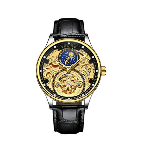 IPOTCH Moon Phase Mechanical Skeleton Reloj de pulsera de cristal analógico automático - Oro negro