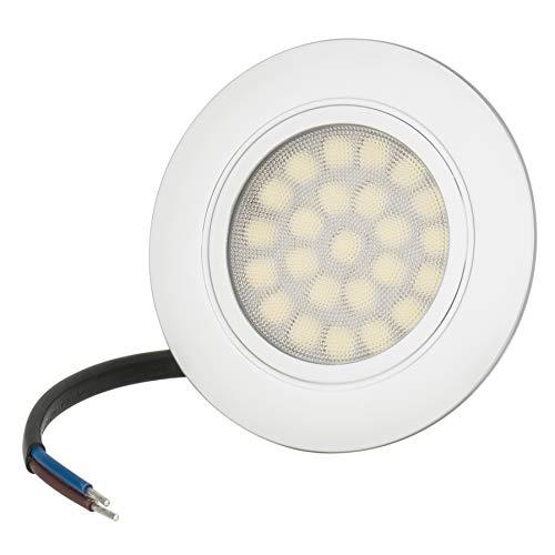 Flache LED Möbeleinbauleuchte 4W 230V IP44 Lichtfarbe Warmweiß Vitrinenbeleuchtung, Schrankbeleuchtung,Einbaustrahler, Unterbauleuchten, Spot, Lampe