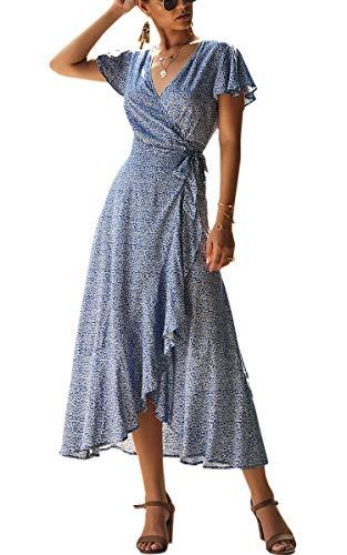Spec4Y Damen Boho Lange Kleider V-Ausschnitt Sommerkleider Kurzarm Wickelkleid Maxikleid Strandkleid mit Schlitz Blau L