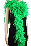 80 Gram, 2 Yards Long Turkey Chandelle Feather Boa 10 Color, Great for Party, Wedding, Halloween Costume, Christmas Tree Decoration (Green)