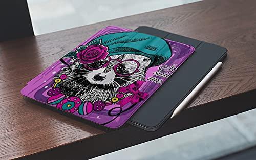 MEMETARO Funda para iPad (9,7 Pulgadas 2018/2017 Modelo), Boina Mapache Vector con Gafas Rosa Dibujado Mano Smart Leather Stand Cover with Auto Wake/Sleep