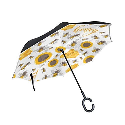 Sunflowers Bees Honey Sweet met paraplu's met handgrepen in C-vorm, dubbelzijdig, voor regen