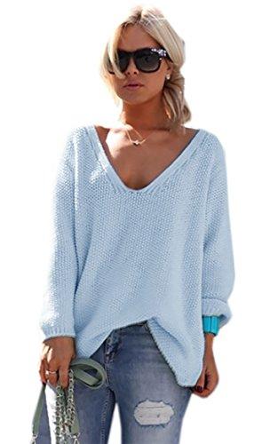 Mikos* Damen Pullover Hoodie Sweatshirt Warm Lange Ärmel Casual Sleeve Pullover Jacke Slim Mantel Tops (617) (Hellblau)