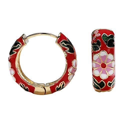 MNSYD Mikro-eingelegte Farbe Zirkon Creolen Dick Chunky Open Creolen Vintage Small Statement Ohrringe für Frauen und Mädchen Geschenke Schmuck,rot