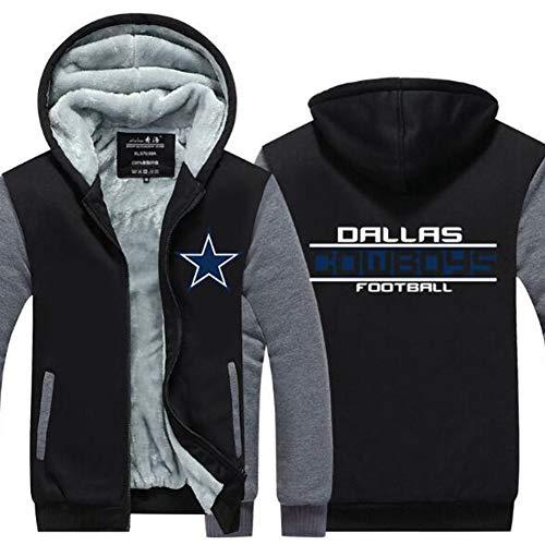 anking NFL Hombres 3D Dallas Cowboys Patrón Uniforme Patrón Sudaderas Impresión Digital Amantes Cremallera Sudaderas con Capucha,Traje De Entrenamiento Thicken Plus Velvet,XL