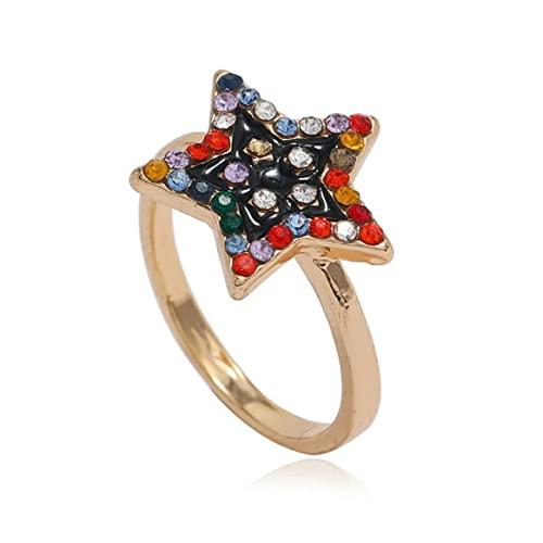 Yixikejiyouxian-A Estrella de Cinco Puntas Vintage con Anillo de Diamantes Accesorio de Mano de Anillo de Moda de nicho de Personalidad Simple de Moda - Dorado